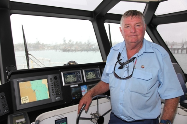 Senior coxswain for Brisbane Marine Pilots Neal Higgs...30 years as a pilot boat skipper.
