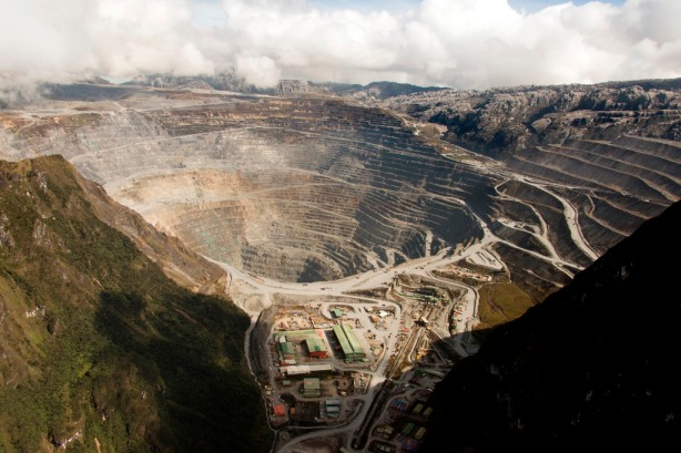 Spectacular Grasberg open pit is at an oxygen-depleted altitude of 4,285 metres (14,000 ft).